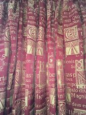 HEAVY QUALITY BESPOKE BLANKET INTERLINED LATIN SCRIPT CURTAINS 7ft LONG