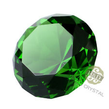 Crystal Green Paperweight Faceted Cut Glass Giant Diamond Jewel Decor Craft 30mm
