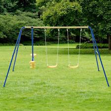 Metal A-Frame Four Seat Swing Set Fun Play Chair Kids Children Backyard Outdoor