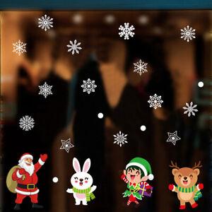 Christmas Removable Window Stickers Snata Snowman Snowflake Tree Wall Sticker