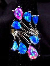 Sterling Silver 925 Filled Size 5 Ring 5*6mm Pink & Blue Lab Fire Opal Cabochon