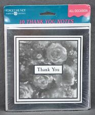 Thank You Cards Silver w/ Roses 10 Cards & Envelopes  American Greetings Blank