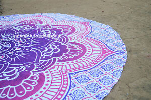 Mandala Beach Roundie Throw Bohemian Yoga Round Tapestry Hippie Mat Lotus Pink