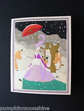 Vintage Art Deco Pochoir Xmas Greeting Card, Her Majesty Arriving in Snow, Grand