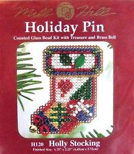 Mill Hill Cross Stitch Bead Kit/Pin Christmas 'Holly Stocking' H120