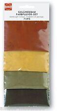 (100g=5,95€) BUSCH 7595 Geländebau Farbpulver-Set, vier Farben, 4 Beutel je 25g