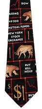 Buy Sell Hold Mens Necktie NY Stock Market Dow Bull Bear Money Neck Tie New