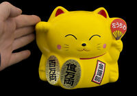 Grand Brucia Incenso Gatto Giapponese 16cm Giallo Made IN Maneki Neko 40650