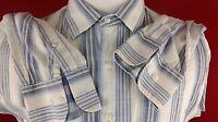 Pronto Uomo White Blue Stripe Button Front Long Sleeve Shirt Mens XL 100% Cotton