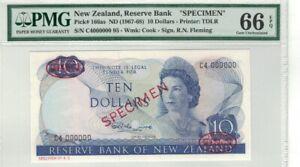 NEW ZEALAND P# 166as 1967-68 (ND) 10 DOLLARS SPECIMEN PMG 66 EPQ GEM UNC