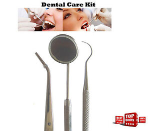 3pcs Dental Care Equipments Mouth Mirror Tweezers Probe Hygiene Examination Kit