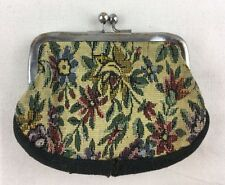 Shabby Vintage Floral Tapestry Fabric Coin Purse Kiss Clasp Metal Frame 1960's