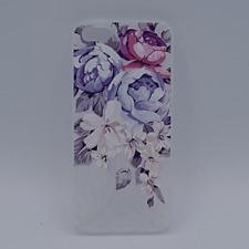 iPhone 5, 5s, SE hoesje - Pioen - roze - blauw en wit