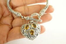 Yellow Citrine Heart Balinese Dangle 925 Sterling Silver Chain Toggle Bracelet