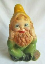 Vintage Chalkware Elf Fairy Gnome With Yellow Hat Coin Still Bank