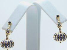 Art deco style yellow cushion channel set sapphire 14K Gold Earrings JA0042