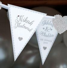 personalised nikah mubarak bunting muslin arabic silver banner - in any colour!