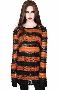 Killstar Gothic Goth Punk Pullover Strickpullover - Regan Orange
