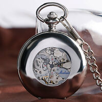 Luxury Silver Smooth Case Roman Numerals Automatic Mechanical Pocket Watch Chain
