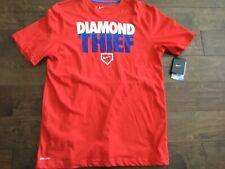 Nike Size L Diamond Thief Orange/Blue Baseball Graphic T-Shirt Dri-Fit Swoosh