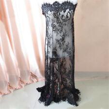 Floral Flower Embroidery Black Mesh Dress Bridal Veil Lace Fabric 110cmx150cm
