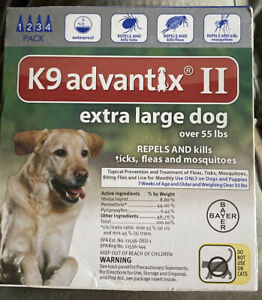 Bayer K9 Advantix II Extra Large Dog over 55 lbs 2 Pack EPA APPROVE !!! GENUINE