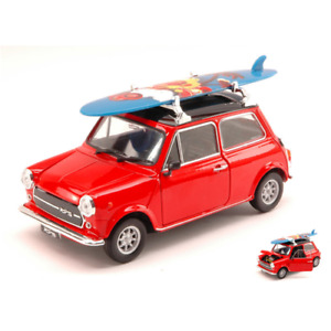 MINI COOPER 1300 1974 WITH WINDSURF RED W/BLACK ROOF 1:24 Welly Auto Stradali