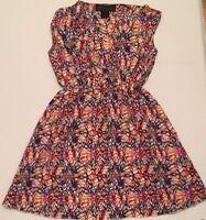 KARDASHIAN KOLLECTION Colorful Pattern GEORGETTE DAY DRESS SZ X Small