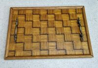 Vtg Handmade Matchstick Serving Tray w Metal Handles Prison Art Crafted Tramp