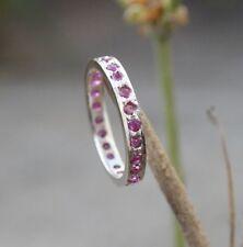 Handmade Ring Band Round Ruby Red Gemstone Sterling Silver 925 Handmade U837