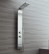 Stainless Steel Shower Column Tower Panel Thermostatic Twin Head 2 Body Jets UK