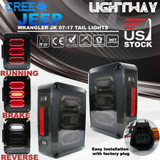 07-17 Jeep Wrangler JK LED Tail Lights Brake Reverse Turn Signal Rear Lamps SAE