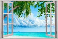 Cheap 3D Window view Exotic Beach Wall Sticker Film Mural Art Decal 429