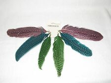 NWT 3 PAIRS * FOREVER 21 * PINK AQUA & GREEN FEATHER DANGLE EARRINGS SILVERTONE