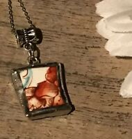 Recycled Broken Porcelain Jewelry, Orange Floral Pendant