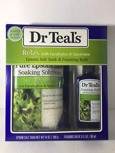 New Dr Teal's Relax w/ Eucalyptus & Spearmint Epsom Salt & Foaming Bath Gift set