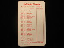 1952-53 Albright College Basketball Pocket Schedule