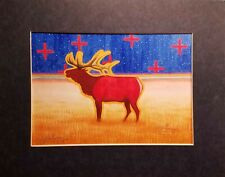 SIGNED * MATTED PRINT BY COCHITI ARTIST DOMINIC ARQUERO * ELK IN FIELD *  2002
