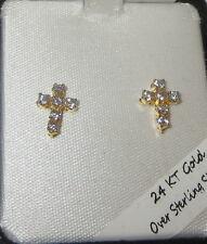 Cross Earrings 24 KT Gold Over Sterling Silver Vermeil Pierced Mini New in Box