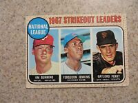 TOPPS 1967 NATIONAL LEAGUE STRIKEOUT LEADERS BUNNING, JENKINS, PERRY CARD # 11