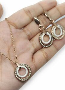 Stainless Steel Chain And Earrings Set With Zirconia
