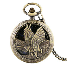 Retro Eagle Roman Numbers Skeleton Hand Winding Mechanical Pocket Watches Chain