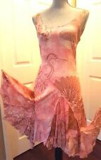 NWT $1700 - STUNNING ROBERTO CAVALLI PINK TAN PARADISE SILK DRESS GOWN US 10 M
