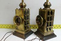 Vintage Set Nautical Brass End Table Lamps 3way Switch Night Light Lantern