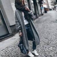Women Winter Coats Wool Cardigan Solid Bat Jacket Sweater Long Loose Thick Coat