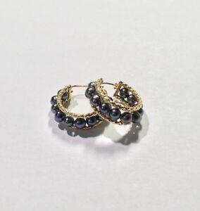 14k Yellow Gold Round Black Pearl Rope Edge Boarder Round Hoop Hoops Earrings