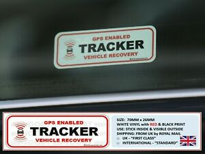 2 x TRACKER FITTED WINDOW STICKERS, GPS ENABLED,VEHICLE CAR VAN THEFT DETERRENT