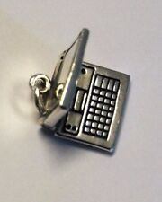 .925 Sterling Silver Movable Laptop Computer Notebook Charm Gift Boxed