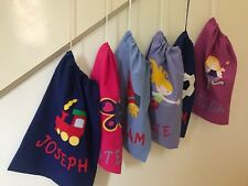 PERSONALISED LIBRARY BAGS/TOY BAGS  - BOYS AND GIRLS -  VARIOUS DESIGNS