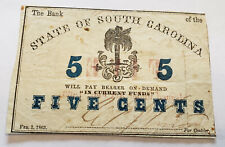 1863 Bank of the State of South Carolina - 5 Cent Note - US CIVIL WAR Era